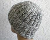 Grey, white, tweed, ribbed watch cap, skull cap, men's hat, women's hat, biker cap, ski snowboard hat, chemo cap, mariner's cap, toque