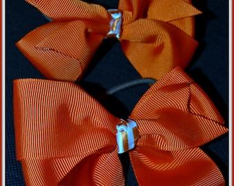 Tangerine Orange Boutique MEDIUM Hair Bows with white stripe center