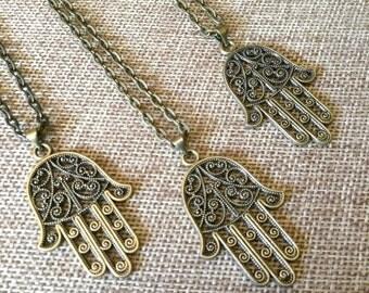 Hamsa Necklace  on Bronze Cable Chain