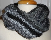 CLEARANCE Moebius Knit Scarf A Little Bit of This and A Little Bit of That The Grey and Black