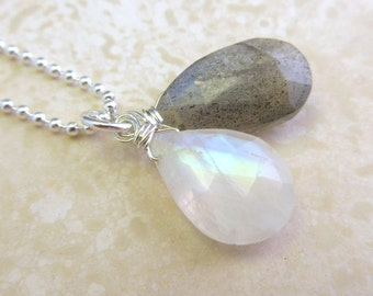 Labradorite and Rainbow Moonstone Briolette Pendant Necklace on Sterling Silver Ball Chain