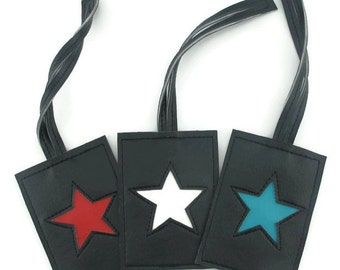 Travel Luggage Tag with Star Design in CUSTOM Colors by Tender Roni *Choose Your Own Colors*