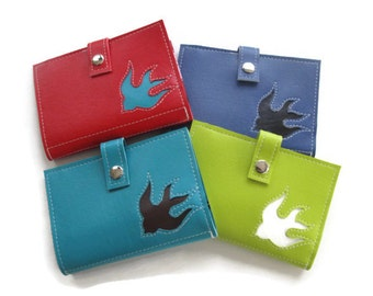 Medium Women's Wallet with Bird Sparrow Swallow Dove in CUSTOM Colors by Tender Roni *Choose Your Own Colors*