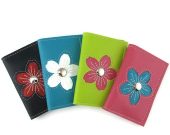 Business Card Holder Small Wallet with Cherry Blossom Flower Design in CUSTOM Colors by Tender Roni *Choose Your Own Colors*