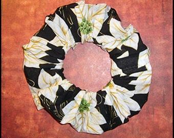Christmas Hair Scrunchie, Ponytail Holder, Holiday Hair Tie, White Poinsettia's