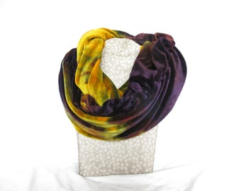 CLEARANCE Tie Dye Scarf, Purple and Gold, Organic Bamboo Velour, Velour Scarf, Infinity Scarf