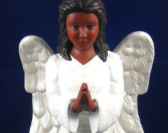 African American Angel Black Angel Praying Handpainted Ceramic Angel
