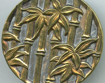 """HUGE Victorian Metal BAMBOO Button Antique Picture Large Flowers 1  3/4""""  inch size 2399"""