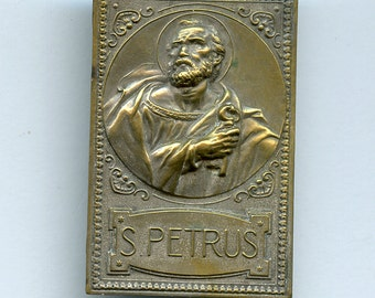 French St. Peter Metal Stamped Plate Plaque S Petrus France Antique Vintage 1786