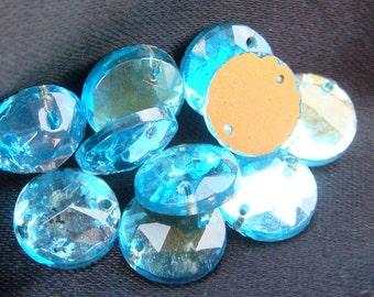 Glass AQUA Sew On Trim 11 mm Circle (12)  Vintage Glass Bead Foil Flat Back Mirrored jc soaqrd11 MORE AVAILABLE