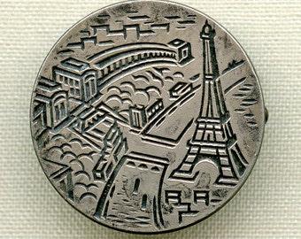 Vintage French Eiffel Tower Brooch MCM Stylized Souvenir Pin Silver Metal  France 2104