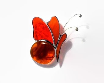 Orange Stained Glass Butterfly Suncatcher, Spring Home Decor, Window Garden Decoration, Glass Mobile Ornaments, Sun Catcher, Ready to Ships