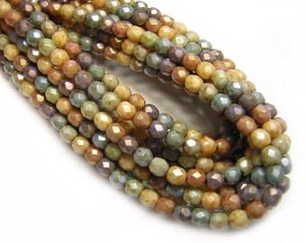Czech Fire Polished Beads - 4mm Fire Polished - Round Beads - Czech Glass Beads - Czech Picasso Beads - 4mm Round - 50pcs (1810)