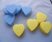 Valentine Vintage Yellow and Blue hard plastic heart shaped boxes,  baby-bridal shower, party favor, cake topper 9 total, AMSCAN