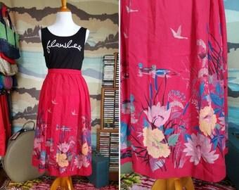 Vintage Fuchsia Skirt with Fantastic Duck Scenes M L