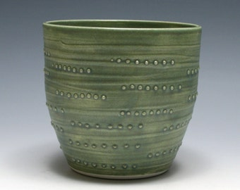 Dotted Bowl with Matte Green Glaze