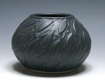 Small Carved Leaf Vase with Midnight Blue Glaze