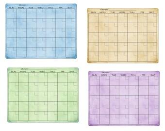 Amber Green Blue Purple Paint Dry Erase Monthly Calendar Fridge Magnet #3517