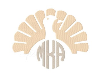 Turkey Embroidery Design Monogram Frame Machine Embroidery Thanksgiving  BX Instant download 4x4 5x7 6x10