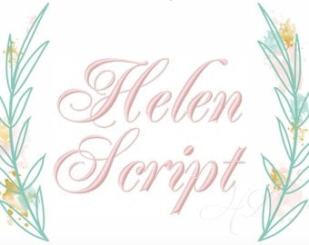 """2"""" inch Embroidery Font Helen Virginia Monogram Font Numbers Included BX Instant download 4x4 5x7 6x10 PES"""