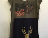 Stone Temple Pilots tshirt dress, plus size, Womens Cotton Tunic, spring break coverup, one of a kind, black and green cotton, odd unique ,