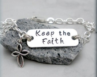 Keep the Faith Cross Bracelet, Sterling Silver, Religious Jewelry, Handstamped, Faith Bracelet, Faith Jewelry, Charm Bracelet, Cross (SB714)