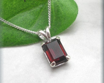 Garnet Necklace, January Birthstone, Gemstone, Garnet Jewelry, Red Necklace, Sterling Silver, Red Garnet, Octagon, Rectangle (SN908)