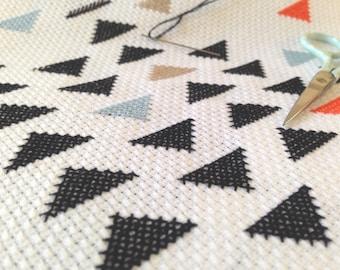 modern cross stitch KIT ++ geometric pattern ++ complete kit + fabric + needle + pattern + thread ++ diy hipster ++ handmade design