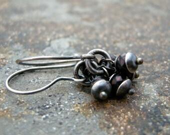 tiny dark red czech glass bead earrings, dark red earrings, small red earrings, drop earrings, dangle earrings