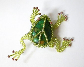 Frog Brooch with Peace Sign