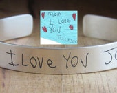 Children's Writing Mommy Cuff Solid Sterling Silver Handwriting Bracelet Personalized Keepsake