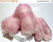 "Valentine Sale Pink spinning batt, fiber art batt,needle felting wool,nuno felting wool, spinning fiber, ""Pinkaboo"", pink, white, cotton can"