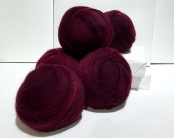 Merlot wool roving, Spinning fiber, Wine Roving, Needle Nuno Felting wool, red violet, deep Wine, reddish purple, red grape  *ready to ship*