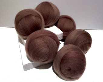 Cocoa wool Roving, wool top, Needle Felting wool, Spinning Fiber, light brown, mocha brown, with 3 free samples  *ready to ship*