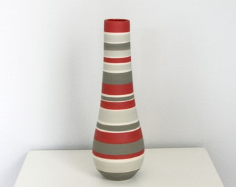 Striped Red and Grey Vase - SHOP SALE - Tall Striped Ceramic Bottle Vase in Shades of Grey Red and White