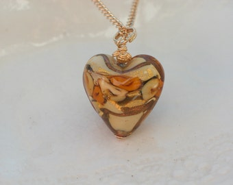 Amber Heart Necklace - Venetian Murano Glass