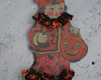 Halloween boy with candle*Ruffled crepe paper collar and cuffs*Handmade*Large *10 inch