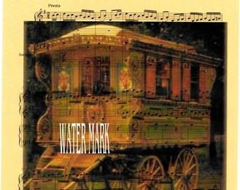 Gypsy wagon,caravan collage sheet music*Bohemian**BOHO*Quilt art fabric block*Quilts,Pillows,Sachets,Frame