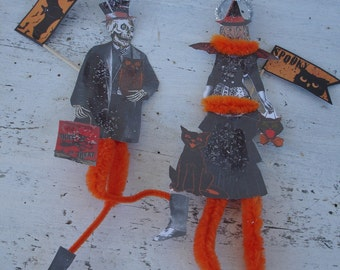 Halloween*Witch*Skeleton bump chenille ornies*So darling.  Perfect for this Halloween