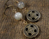 Ocean soocho jade stone, antique brass charms handmade earrings