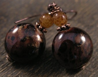 SALE Chocolate brown marbled ceramic beads, speckled glass, antique copper earrings