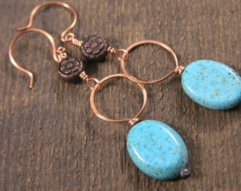 Turquoise oval stones, solid copper wire handmade earrings