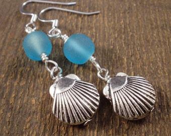 Turquoise blue sea glass beads, silver sea shells beach vacation handmade earrings