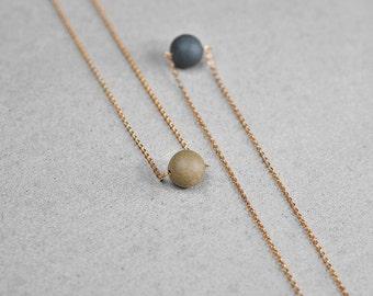 Ceramic pearl necklace, Ceramic necklace 24K gold filled necklace Chic necklace Minimalist necklace Anniversary gift-boohua