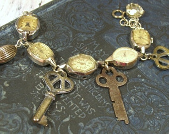 Skeleton Key and  Antique Watch Face Charm Bracelet Gold Fill