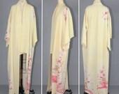 1950s / silk robe / floral / bohemian / SWEET DAFFODIL vintage kimono
