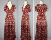 R E S E R V E D shop sale / india dress / 1970s / bohemian / hippie / SANDALWOOD vintage gauze maxi dress