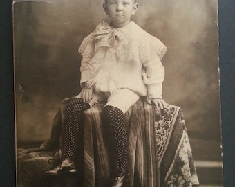 """Adorable antique Victorian black and white photograph of little boy in elegant clothes, 14 1/2"""" x 20"""", done by studio photographer, so cute!"""
