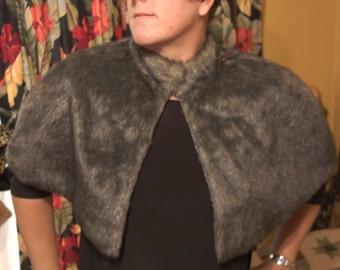 All Sizes 1980s Retro Re-Pop Fake Faux Fur Caplet Short Pile Grey Evening Wear Viva Las Vegas Rockabilly Pin Up Burlesque