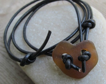 Short Heart Necklace Beach Glass Leather Choker Brown Beach Glass Choker Surfer leather Necklace Sea Glass Heart Jewelry